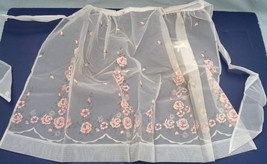 vintage handmade half apron white organdy with pink and white flower pat... - $13.86