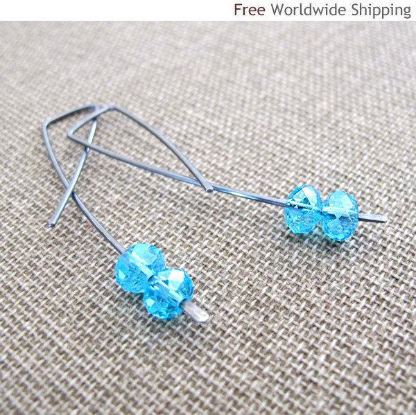 Elegant Oxidized Sterling Silver Earrings & Aqua Blue Crystals. Modern Jewelry