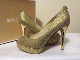 Michael Kors York Platform Gold Glitter Women's Dressy Evening Heels Pum... - $98.01
