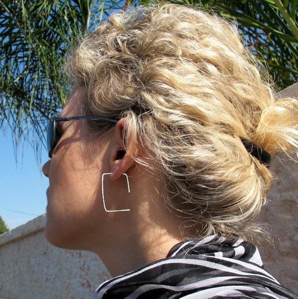 Modern Rectangle Hoops Earrings. Sterling Silver Hammered Earrings. Elegant Hoop