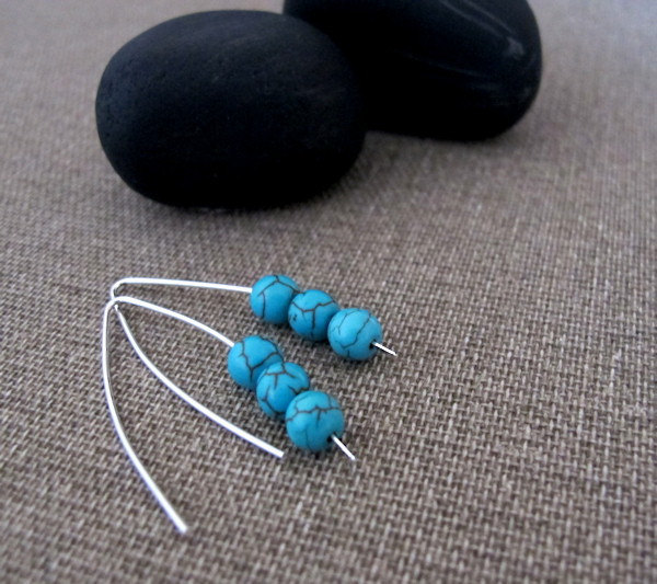 Turquoise Gemstone Earrings. Modern Sterling Silver Earrings. Cracked Stone Earr