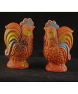 Vintage Orange Rooster Pottery Salt Pepper Shakers - $8.99