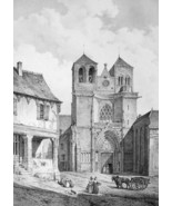 FRANCE Souvigny Priory Church of Saint Peter - SUPERB Litho Antique Print - $21.42