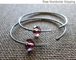 Amethyst Crystal Earrings. Oxidized Sterling Silver Hoop Earrings-Modern... - $26.00