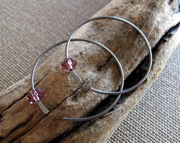 Amethyst Crystal Earrings. Oxidized Sterling Silver Hoop Earrings-Modern Jewelry