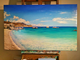 Beach oil painting on canvas GREECE - $923.00