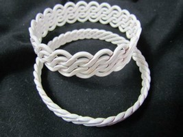 Vintage Lot of 2 White Metal Braided Coated Bangles - $19.94