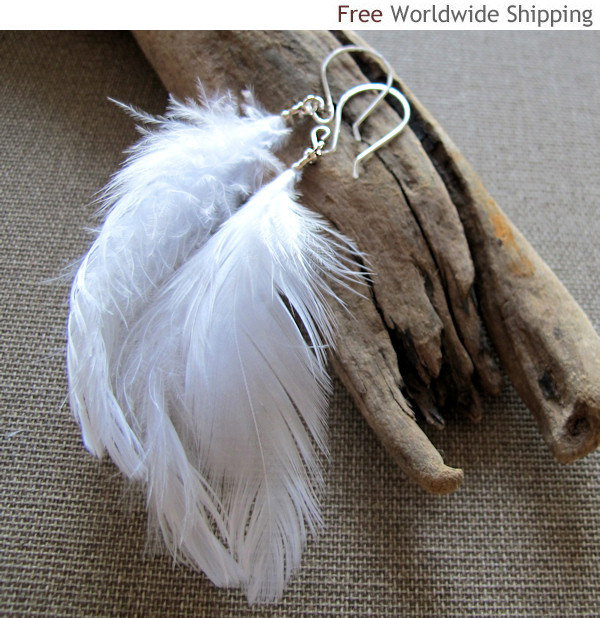 Fashion White Feather Earrings. Sterling Silver Ear Wires Dangle Feather Earring