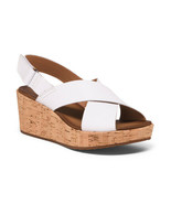 NEW CLARK WHITE LEATHER PLATFORM WEDGE SANDALS SIZE 8 W SIZE 8.5 WIDE - $42.99