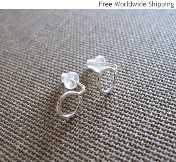 Mini Post Earrings. Sterling Silver Rounded Tiny Studs. Petite Circle Hoop Earri