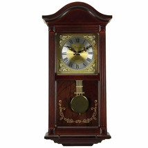 "Nice Wood Grandfather Chiming Wall Clock Mahogany Roman Numerals 5"" 22.1... - $170.00"