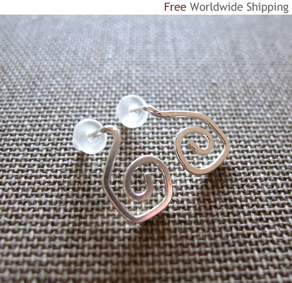 Spiral Post Earrings. Sterling Silver Swirl Stud  Earrings. Elegant Cutest Littl
