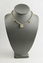 VINTAGE ESTATE Jewelry WHITE MILK GLASS & RHINESTONE FLOWER ADJUSTABLE N... - $15.00