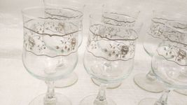 Set of 8 Crystal Wine Glasses with White and Silver Roses Design image 5