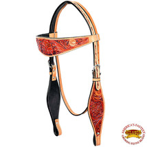 Western Horse Headstall Tack Bridle American Leather Floral Mahogany U-7-HS - $59.99