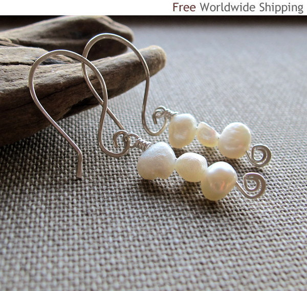 Elegant Pearl Dangle Earrings - Sterling Silver Dangles