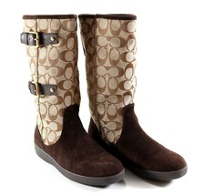 Women's Authentic COACH Tinah A7229 Khaki Mid-Calf 7 M Boots w/ Box + Co... - $80.99