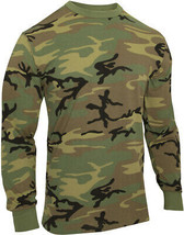 Camo Long Sleeve T-Shirt Washed Vintage Look Tactical Woodland Camouflage - $14.99+