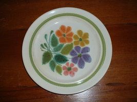 "FRANCISCAN large 10 1/2"" dinner plate with multi-colored flowers; early ... - $4.49"