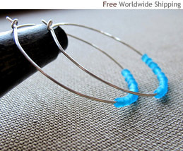 Modern Round Hoops Earrings. Holiday jewelry. Gift for her. Elegant Ster... - $26.00