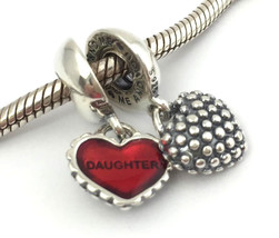 Authentic Pandora Piece Of My Heart Daughter Silver Bead Charm 790950EN2... - $67.44