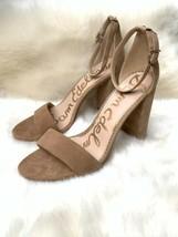 Sam Edelman Yaro Tan Suede Ankle Strap Heels Size 9 Sandals Chunky - $63.30