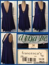 NEW! Ladies Francesca's Top Navy Blue Rayon Sz M Lace Trim Lined Retail ... - $11.87
