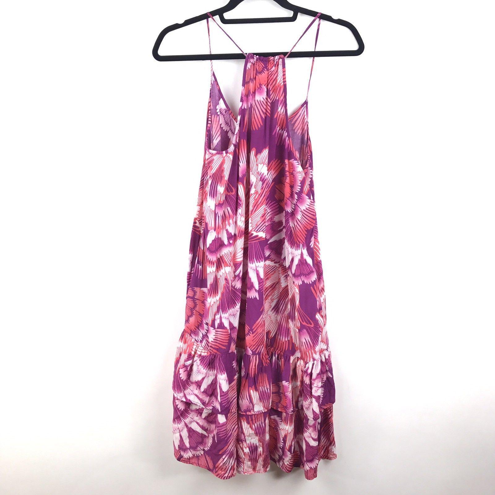 Free People Ruffle Hem Slip Dress Size Small Pink Floral Drop Waist Racerback