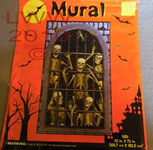 Halloween Skeletons in Barred Dungeon Mural Decoration - $3.99