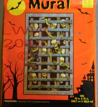 Halloween Caged Skeleton Plastic Halloween Mural Decoration - $3.99