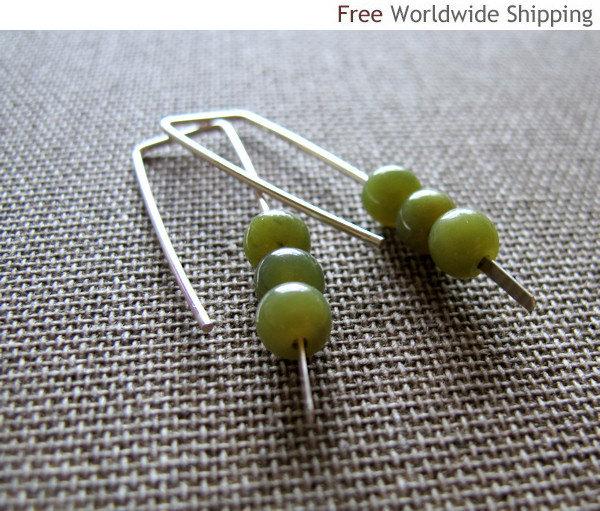 Elegant Earrings. Mint Green Stone Earrings. Sterling Silver Modern Earrings