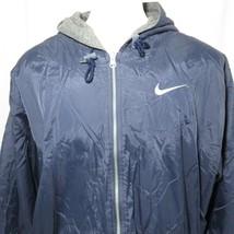 Vintage 90s Nike L Reversible Blue Gray Full Zip Hooded Fleece Nylon Big... - $51.94