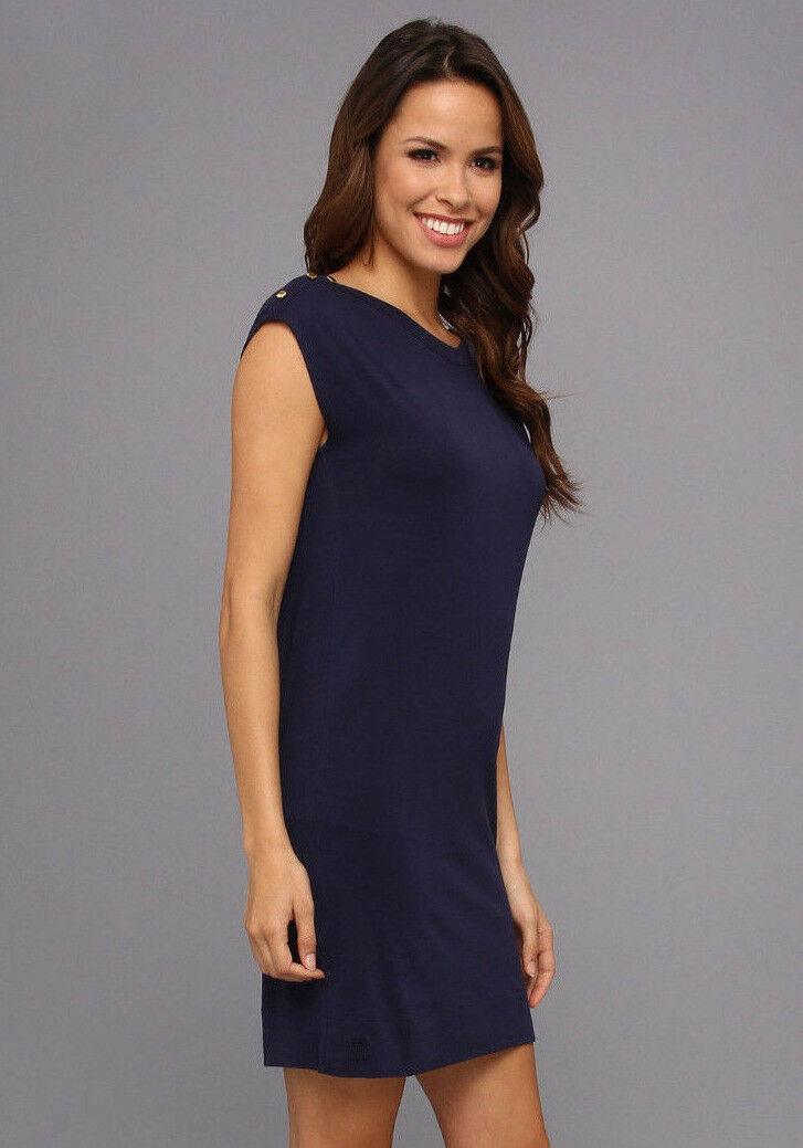 Lilly Pulitzer Sz M Robyn Sleeveless Shift Dress True Navy 6 Gold Buttons EUC image 3