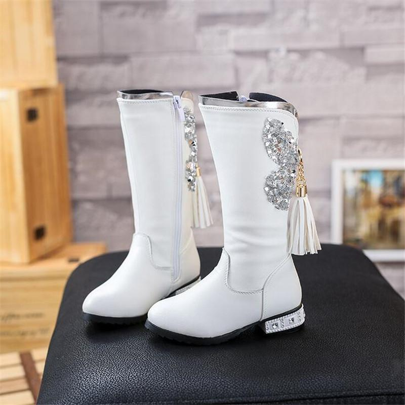 Primary image for Girls Princess Butterfly Embelished White Boots Butterfly Boots with tassel