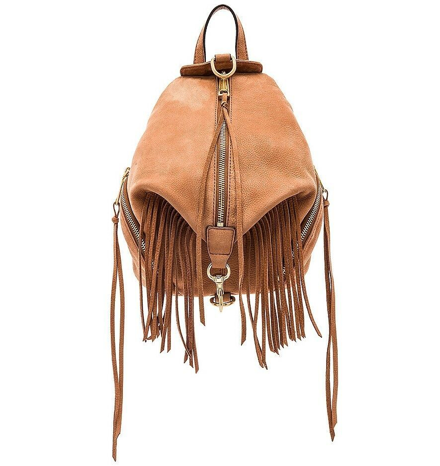 Primary image for NEW REBECCA MINKOFF Stevie Fringe Julian Med Leather Backpack Bag ALMOND BROWN