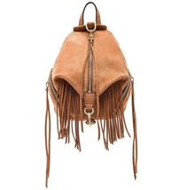 NEW REBECCA MINKOFF Stevie Fringe Julian Med Leather Backpack Bag ALMOND... - $219.90