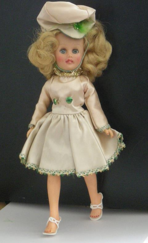Primary image for Doll with majorette, bride, and other clothing and accessories, 1950s.