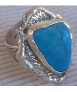 Turquise silver hand made ring MT19 - $39.00