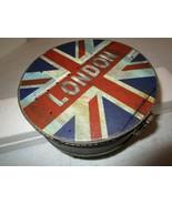 """Round Storage Box LONDON UK British Flag 7"""" x 3"""" Metal Hinged Cover - $7.91"""