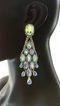 "4.25"" Long Evening Clip On Earrings AB Rhinestones, Bridal, Pageant, Dr... - $19.00"