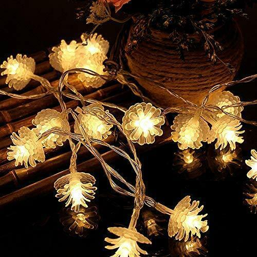 10ct Christmas LED String Lights with Sugared Pine Cones Warm White GW NEW