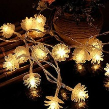 10ct Christmas LED String Lights with Sugared Pine Cones Warm White GW NEW image 1
