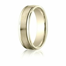 Fine 10k Yellow Gold 6 mm Comfort-Fit Satin-Finished Wedding Band Ring S... - $235.62+