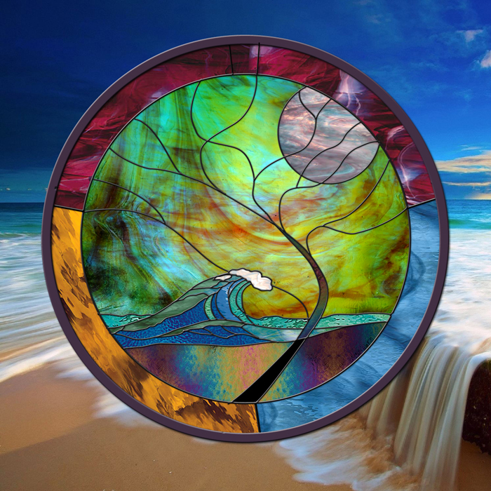 "Stained Glass Window 24"" round panel Wave Tree Moonlight"