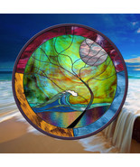 """Stained Glass Window 24"""" round panel Wave Tree Moonlight - $229.00"""