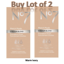 No7 Warm Ivory Match Made Custom Blend Foundation Drops 15ml Lot of 2 New  - $14.50