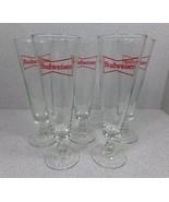 Set of (5) BUDWEISER red logo Footed Beer Pilsner Glasses - Excellent Co... - $8.99