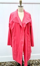 Eileen Fisher L Duster Coat Pink Open Front Cotton Rain Swing Coat 100% ... - $89.00
