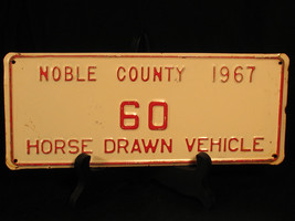 1967 Noble County License Plate YOM Horse Drawn Vehicle 60 Amish Low Number - $37.95