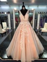 V Neck Floor Length Applique Open Back A Line Backless Bridal Gown image 8